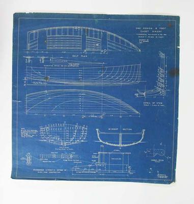 Plans,Twelve, for 12ft Cadet Dinghy, 'Margo', for hull, sails and fixtures with design amendments 1924-1979