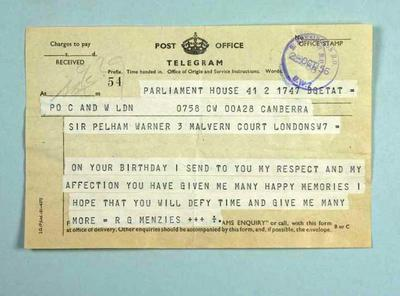 Telegram to Sir Pelham Warner from Sir Robert Menzies, 2 October 1956