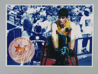 Poster of Lachlan Stuart Jones at 1996 Atlanta Paralympics; Documents and books; 1998.3393.2