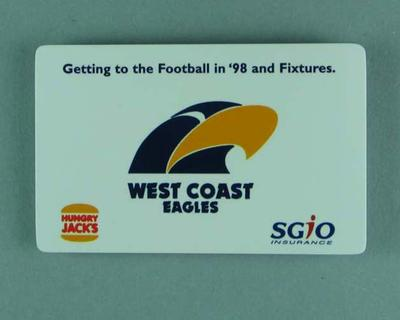 Fixtures Card - 1998 West Coast Eagles & Fremantle Dockers; Documents and books; 1998.3350