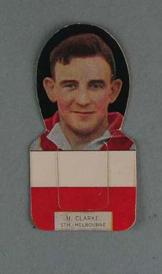 Bookmark - Harry Clarke, South Melbourne FC player, Capstan cigarette trade card c. 1930