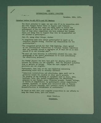 Letters from Avery Brundage regarding IOC rules, 1972 Sapporo Olympic Games