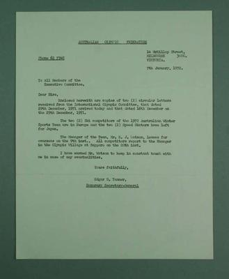 Letter from AOF regarding IOC rules, 1972 Sapporo Olympic Games