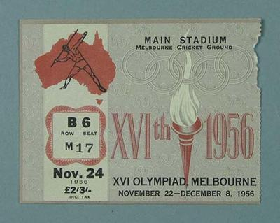 Ticket - Track & Field, Melbourne Cricket Ground , 1956 Olympic Games, 24 November; Documents and books; 2003.3893.40