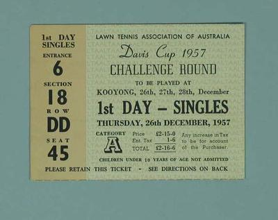 Admission Ticket - 1957 Davis Cup Challenge Round, 26 December; Documents and books; 1998.3344.1