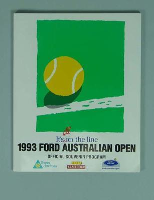 Programme - 1993 Ford Australian Open Official Souvenir programme; Documents and books; 1993.2862.2