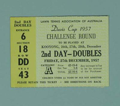 Admission Ticket - 1957 Davis Cup Challenge Round, 27 December; Documents and books; 1998.3344.2