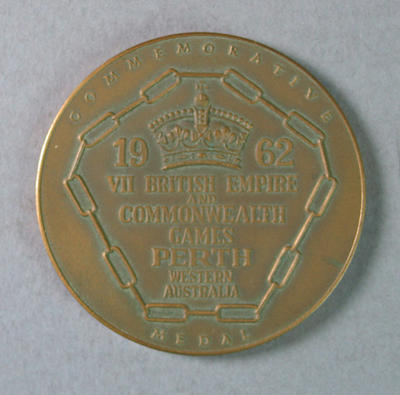 Commemorative Bronze Medal - 1962 VII British Empire & Commonwealth Games, Perth - awarded to Les Phillips.; Trophies and awards; 1986.1252.2