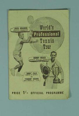 Programme - 'World's Processional Tennis Tour ' with Jack Kramer and Bobby Riggs on the cover, c. 1940