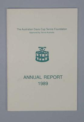 Annual report, Australian Davis Cup Tennis Foundation 1989; Documents and books; 1992.2620