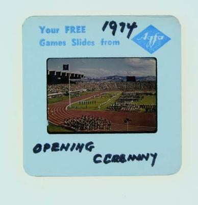 Colour slide, Parade of Nations - 1974 Commonwealth Games Opening Ceremony