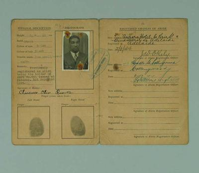 A passport issued to Clarence Reeves, aka the Alabama Kid on 6.3.44