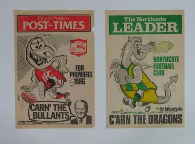 Three newspaper banners, Northcote FC & Preston FC; Documents and books; 2006.5528