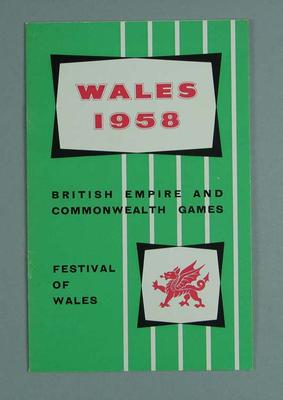 Booklet, 1958 British Empire & Commonwealth Games