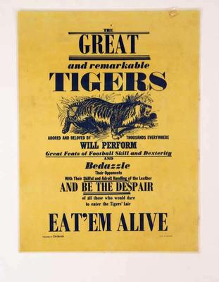 """Poster, Richmond FC """"Eat 'em Alive"""" c1972"""