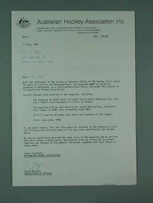 Letter from Australian Hockey Association advising changes to magazine publication, 11 July 1986; Documents and books; 1987.1627.395
