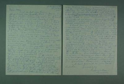 Letter to Hec Cormie from George Moir, c1982; Documents and books; 1987.1627.396