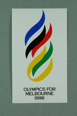 Stickers, Melbourne 1996 Olympic Games logo; Games and toys; 1992.2715.46