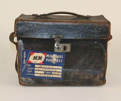 Leather Camera Case and slides belonging to T. H. Morris, case fits Graflex camera; Personal effects; 1995.3109.2