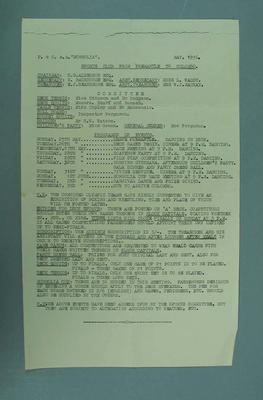Activities list for P&O SS Mongolia, en route to 1936 Olympic Games; Documents and books; 2006.5578