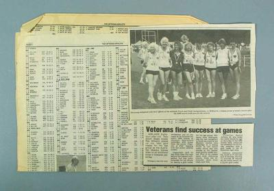 Three newspaper clippings, associated with Masters Track & Field events c1990