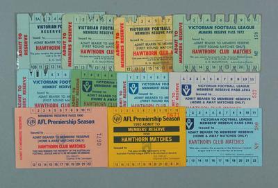 Twenty-three Hawthorn FC membership tickets, 1969-92