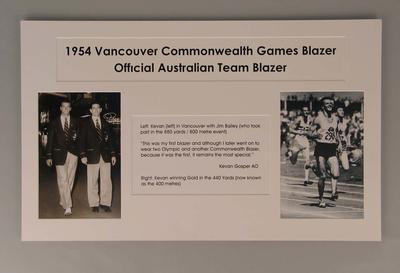 Text panel, associated with 1954 Vancouver Commonwealth Games blazer