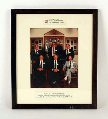 Print of colour photograph of MCC Cricketers, 1951/52 1st XI Premiership Players at the 150th Year Dinner.
