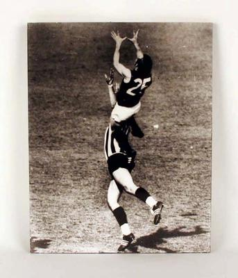 1970 V.F.L. Grand Final, a mounted black and white action photograph featuring Alex Jesaulenko, Carlton Football Club