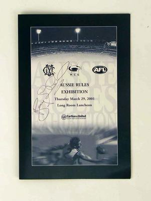 """Menu, AGOS&OM """"Aussie Rules"""" exhibition luncheon - 29 Mar 2001; Documents and books; 2006.5605"""