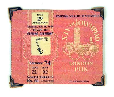 Admission ticket for 1948 Olympic Games Opening Ceremony, 29 July