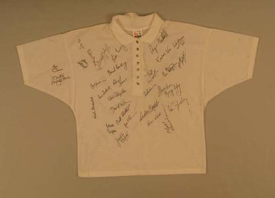 T-shirt, signed by members of Australian 1990 Commonwealth Games swimming team