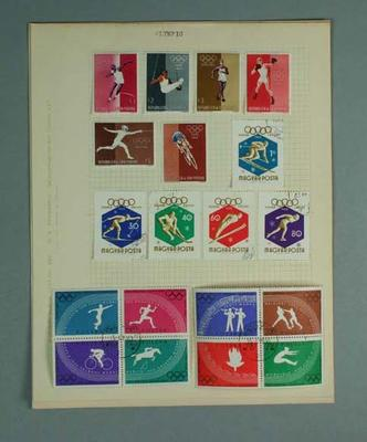 Four sheets of stamps, various Olympic Games 1932-60