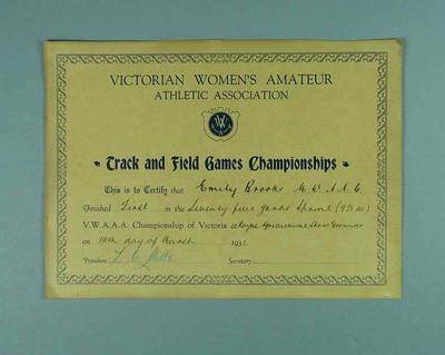 Certificate awarded to Emily Brooks by VWAAA for first place in 75 yards sprint, 14 March 1931