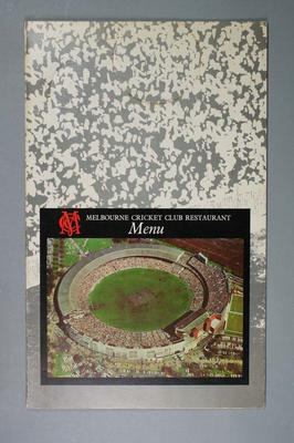 Menu, Melbourne Cricket Club Restaurant
