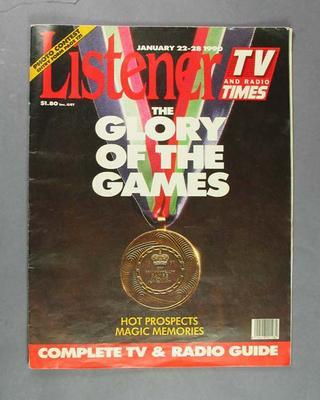 "Magazine, ""Listener: TV and Radio Times"" 22-28 January 1990"