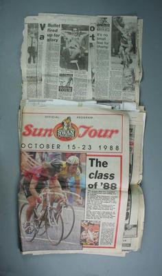Newspaper articles and photocopies from 'The Sun' and 'Herald Sun', relates to cycling and Sun Tour October 1988 & 1990, and Barry Waddell 1990