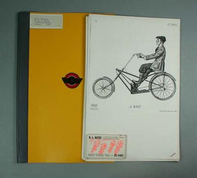 Folder with Bates logo, R L Bates business cards, photocopied material Lemet Bicycles, c.1949