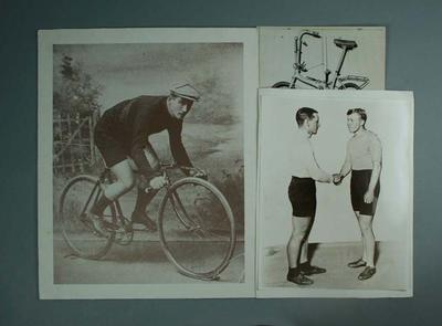 Three black and white photographs; Paddy Hehir and Alf Goullet, man on a bicycle, a bicycle - part of R.L. Bates Collection