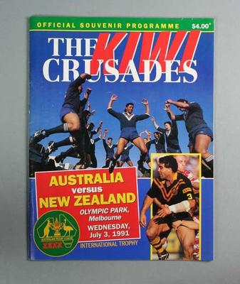 Programme for Australia v New Zealand rugby league match at Olympic Park, 3 Jul 1991