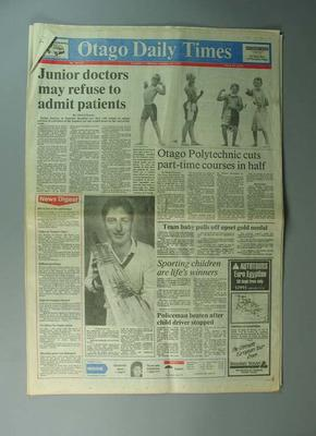 """Newspaper, """"The Otago Daily Times"""" 29 January 1990"""