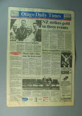 """Newspaper, """"The Otago Daily Times"""" 30 January 1990"""