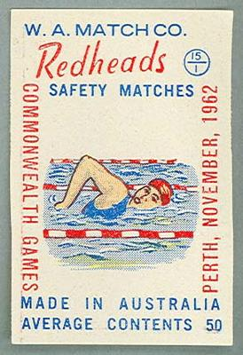 Thirty-two Redheads matchbox labels, 1962 Commonwealth Games designs