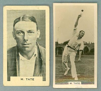 Two trade cards featuring Maurice Tate, 1928 Millhoff & 1932 Godfrey Phillips