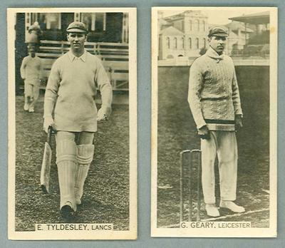 1928-29 Wills Cigarettes Cricket Season Ernest Tyldesley & George Geary trade cards; Documents and books; 2006.5797