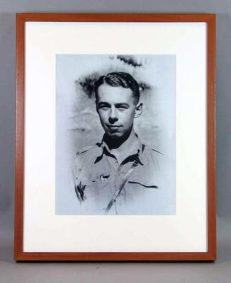 Copy of framed black and white portrait photograph, Peter Jarrett, Melbourne Cricket Club member; Photography; M16022