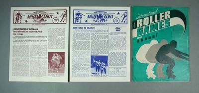 """Two newsletters and one annual, """"International Roller Games"""" c1971"""