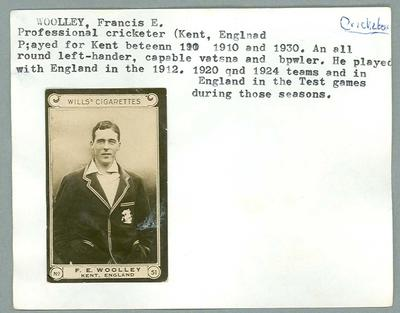 Trade card featuring Frank Woolley, Wills Cigarettes c1930s