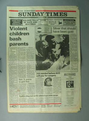 """Newspaper, """"The Dominion Sunday Times"""" 28 January 1990"""