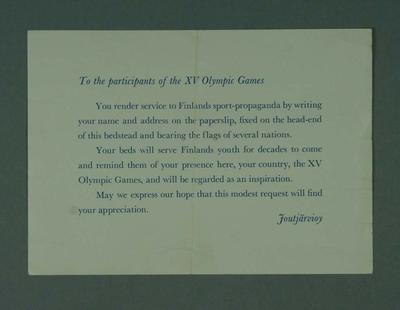 Notice placed on bedheads, addressed to 1952 Olympic Games athletes; Documents and books; 1995.3098.20